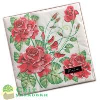 """Серветка """"Марго"""" Червоні троянди 33х33"""